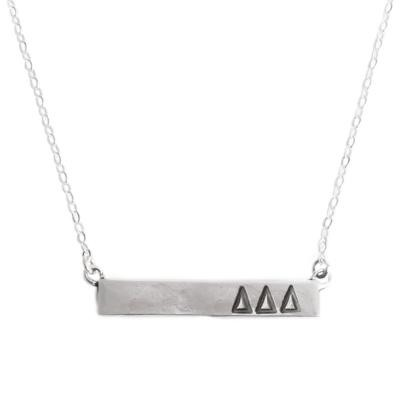 Delta Delta Delta silver bar sorority necklace