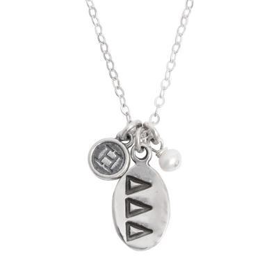 tri delta delta delta sorority sister initial necklace