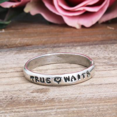 true love waits sterling silver band ring