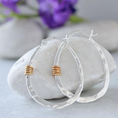 Drop Hoop Silver Earrings with Gold Wire Wrap