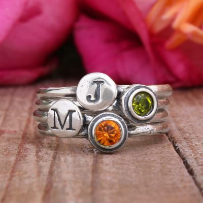 Mother's Ring - stackable family ring with birthstones and initials by www.nelleandlizzy.com