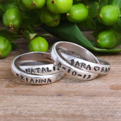 Grandmother's stacked ring, personalized