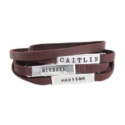 Leather Wrap Bracelet with Personalized Silver Nameplates