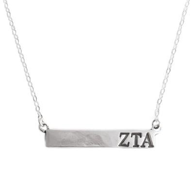 Zeta Tau Alpha Sorority Bar Necklace Namplate
