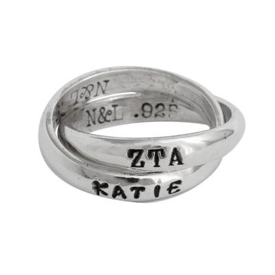 Pi Beta Phi Sorority Rings, Personzalized and Hand Stamped
