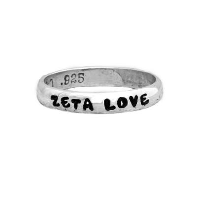 Zeta Tau Alpha Sorority Ring in silver