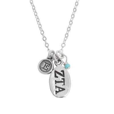 zeta tau alpha greek sorority sister initial necklace