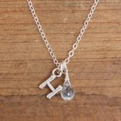 aquamarine initial birthstone necklace