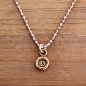 Bronze peace sign necklace