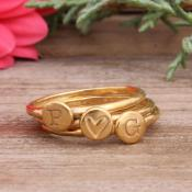 Stackable gold rings with initials