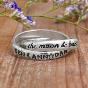 I love you to the moon and back mothers ring for couples