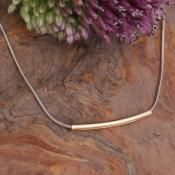 silver and gold simple slide necklace