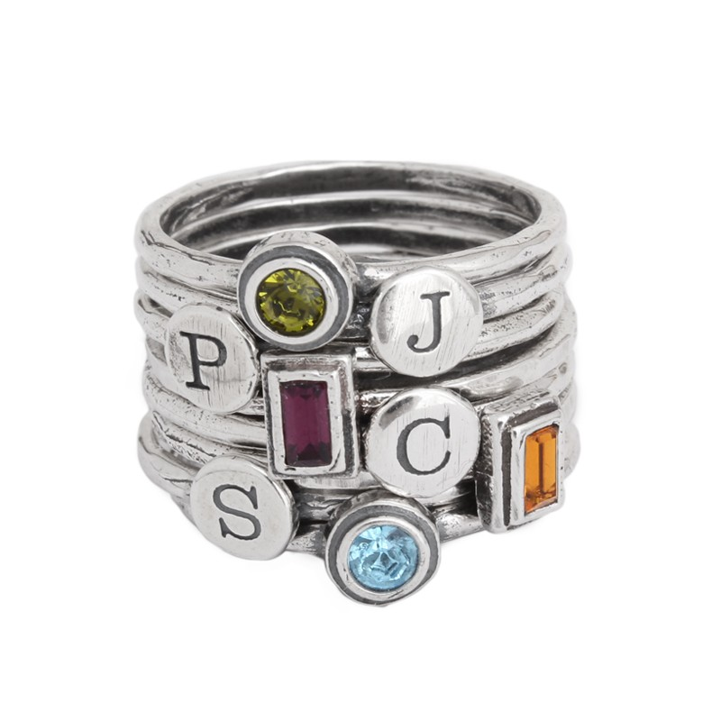 stackable silver rings with initials and birthstones