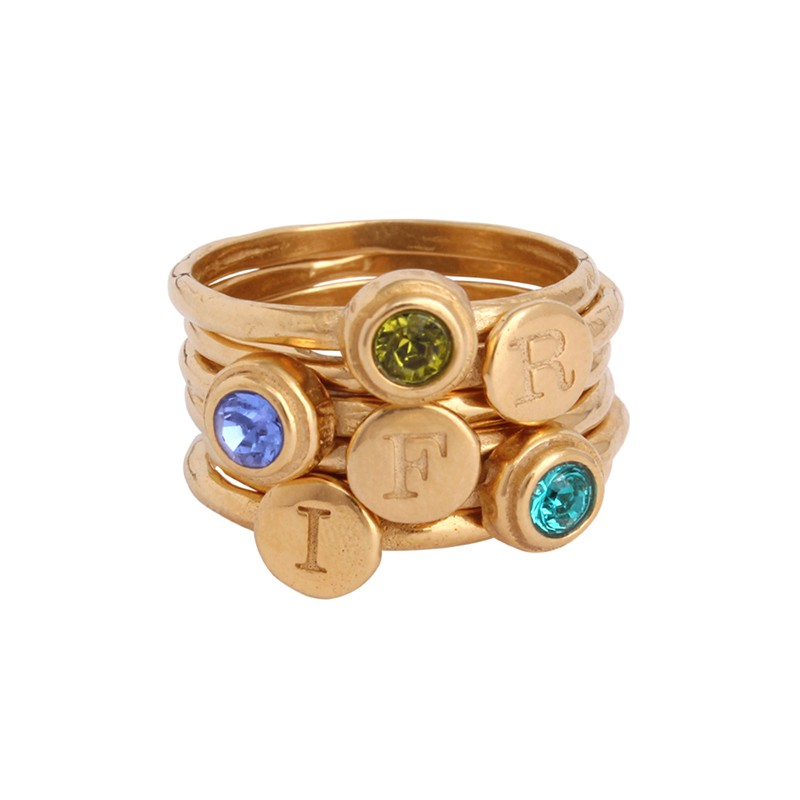 grandmothers stackable initial birthstone gold rings