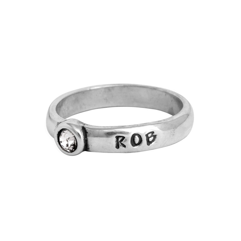 stackable birthstone name ring band with birthstone