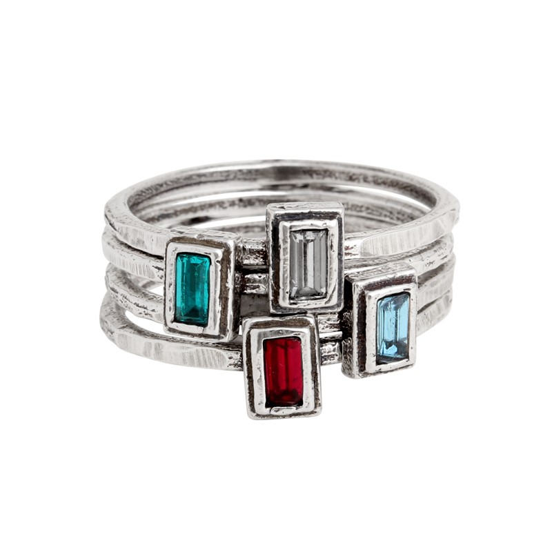 stackable birthstone rings in silver rectangle setting