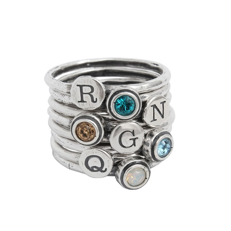 Grandmother of four birthstone and initial rings
