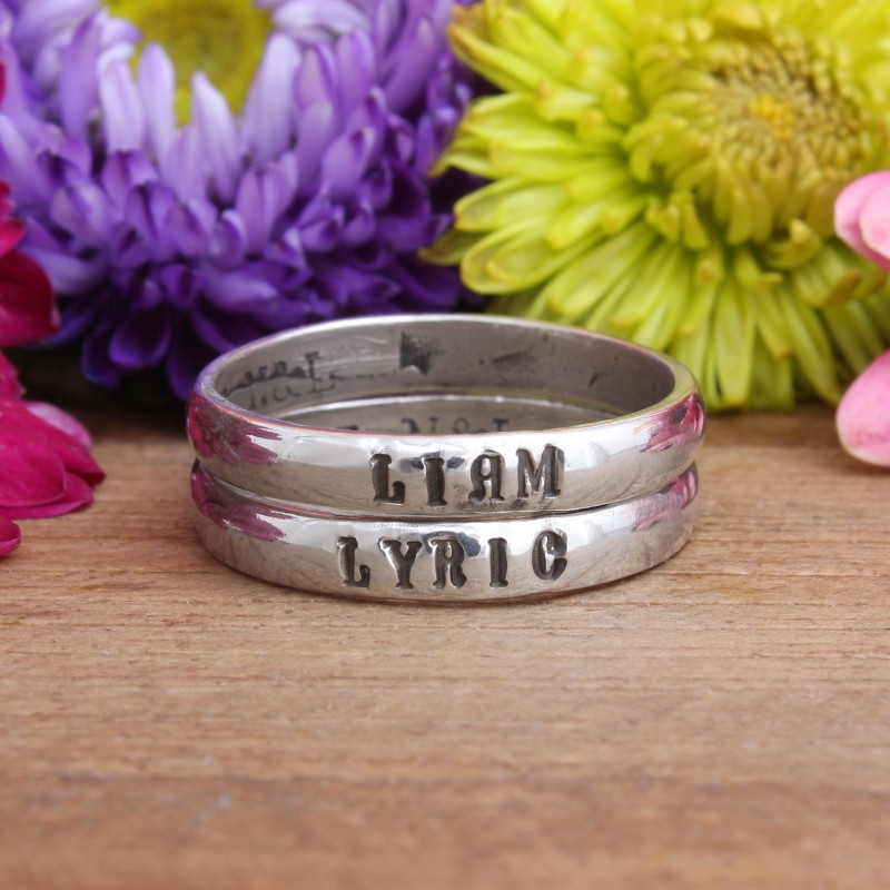 Set of Two Personalized Name Rings for Mom