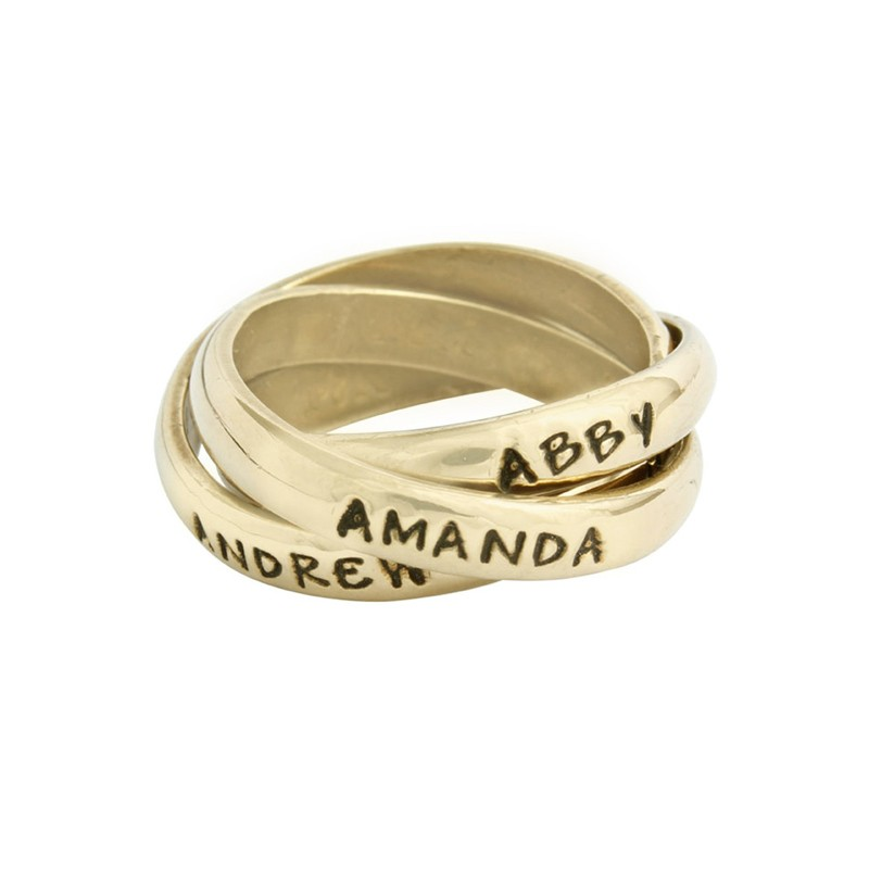 Personalized Grandmother S Rings In 14k Gold Triple Bands