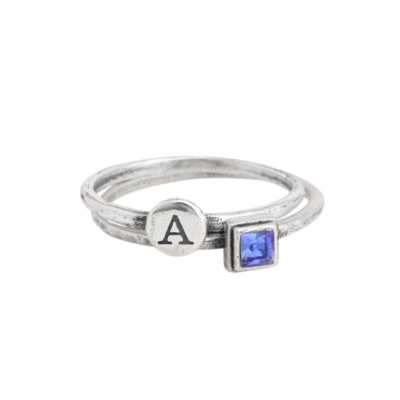silver stacking rings with birthstones
