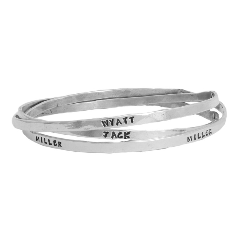 Personalized Bangle Bracelet for Mom - Triple