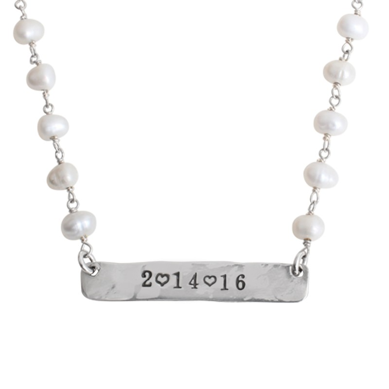 bar necklace with date or name silver and pearls