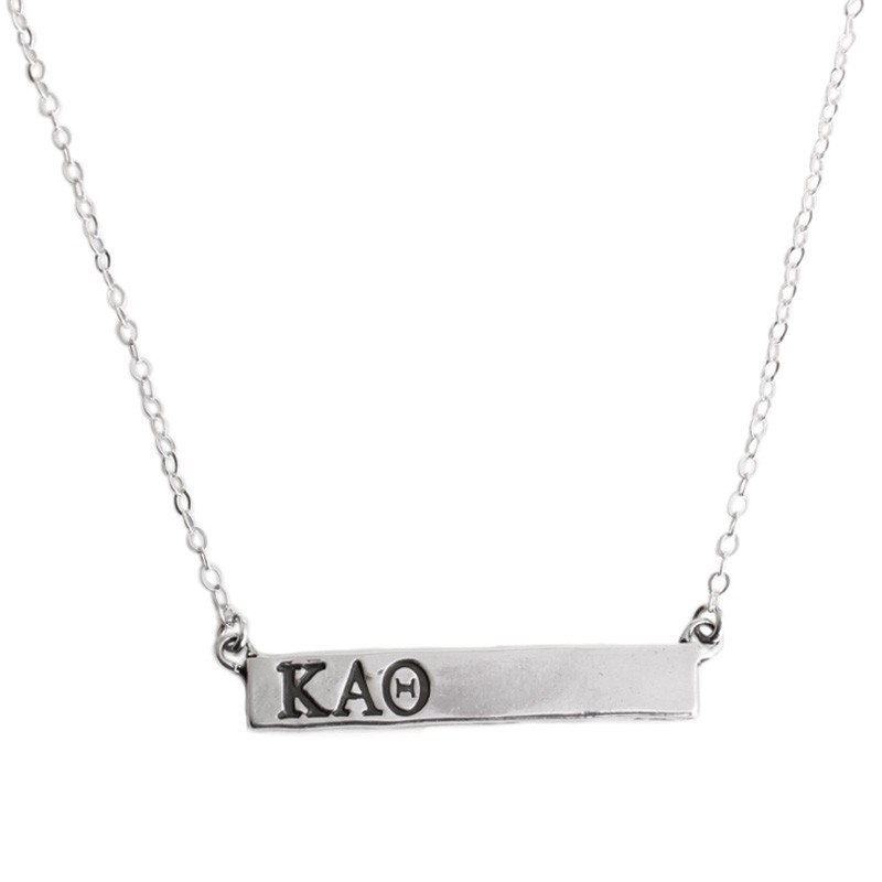 theta bar necklace in silver