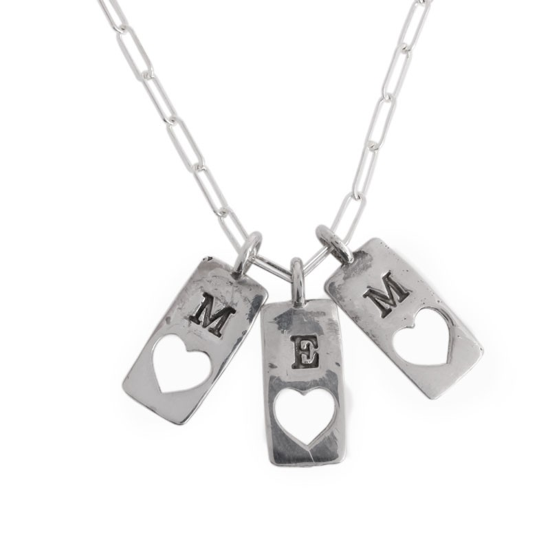 Amore Necklace, Initial Heart Charm in Gold and Silver