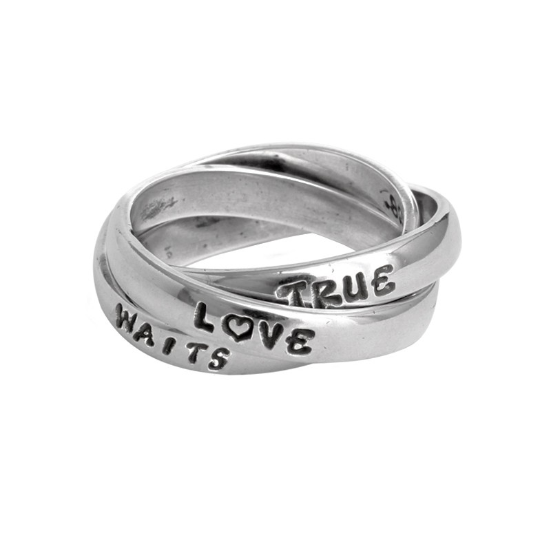 Purity Ring for Girls, Personalized Triple Band Purity Ring