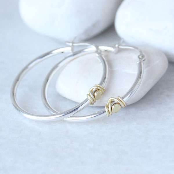 Hoop Earrings in silver with gold wire wrap