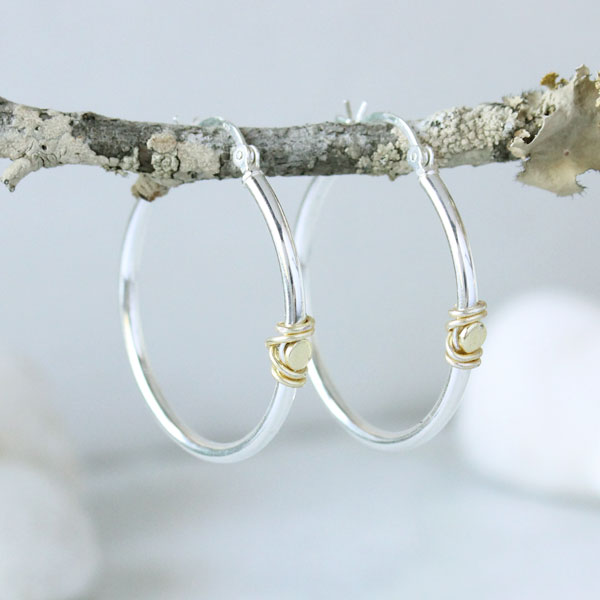 Wire Wred Hoop Earrings Gold And Silver