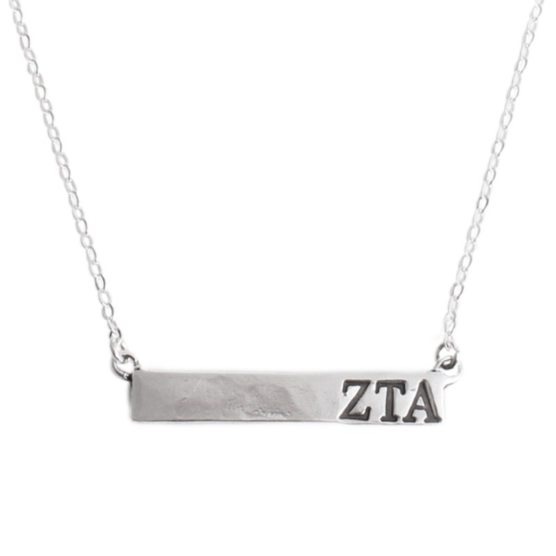 zeta bar necklace with greek letters stamped