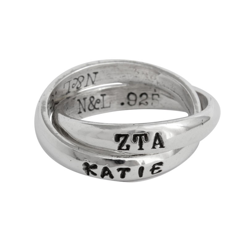 zeta tau alpha sorority name ring personalized