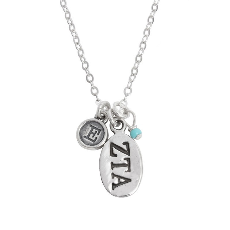 zeta tau alpha greek sorority sister initial necklace