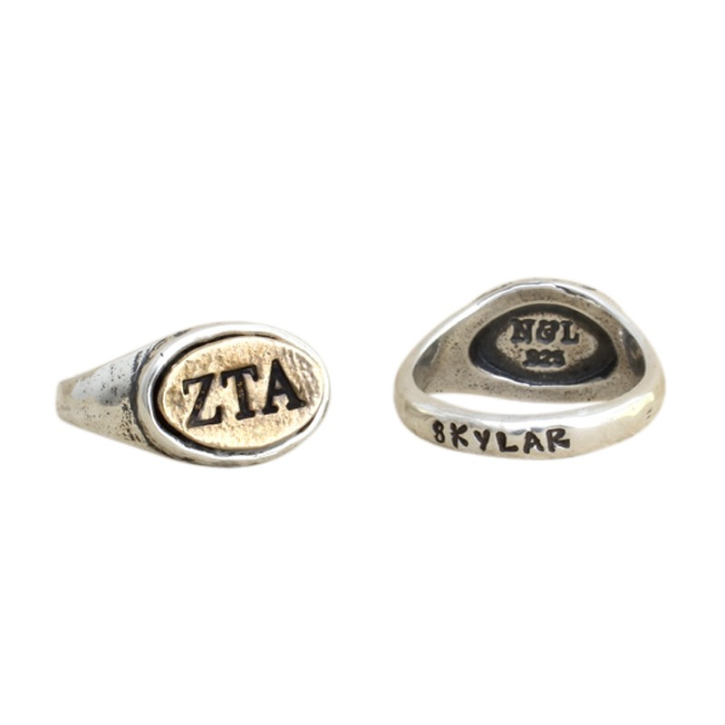 Zeta Tau Alpha Sorority Ring, Personalized in silver