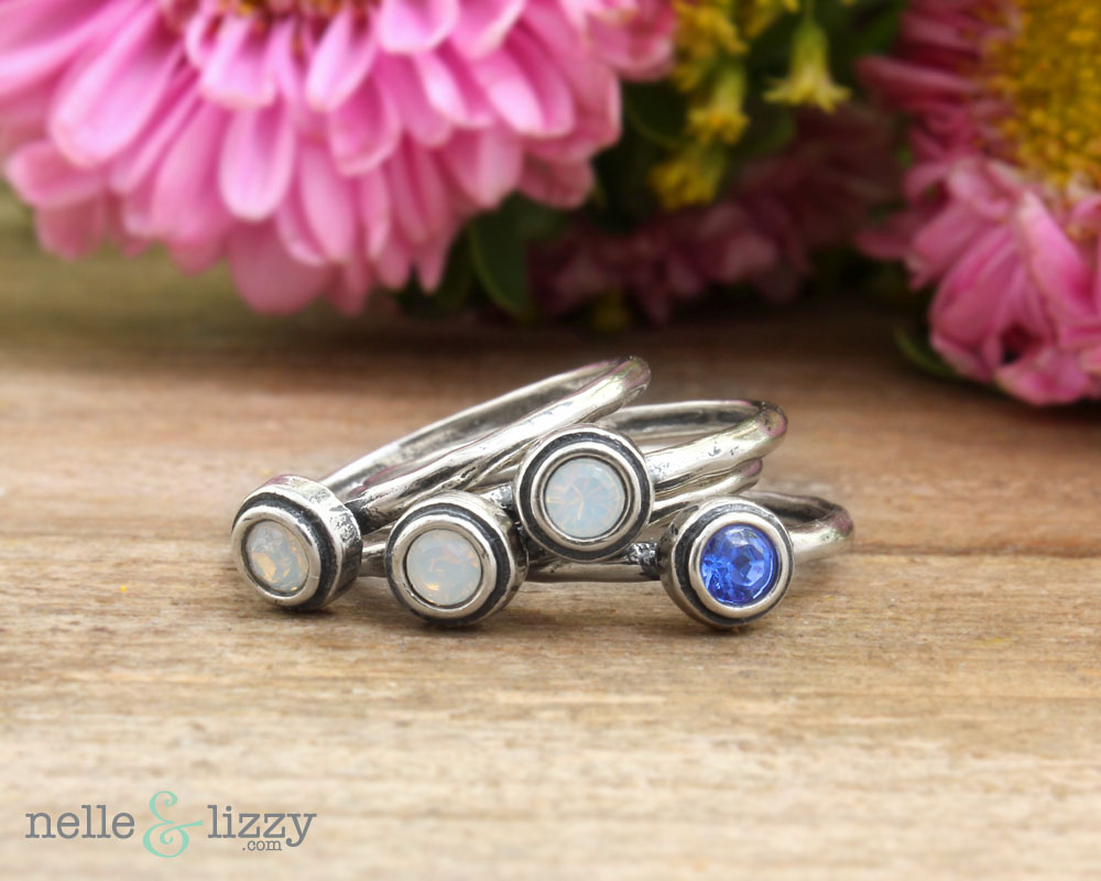 stacked birthstone rings in sterling silver