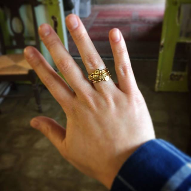 gold initial rings for mom