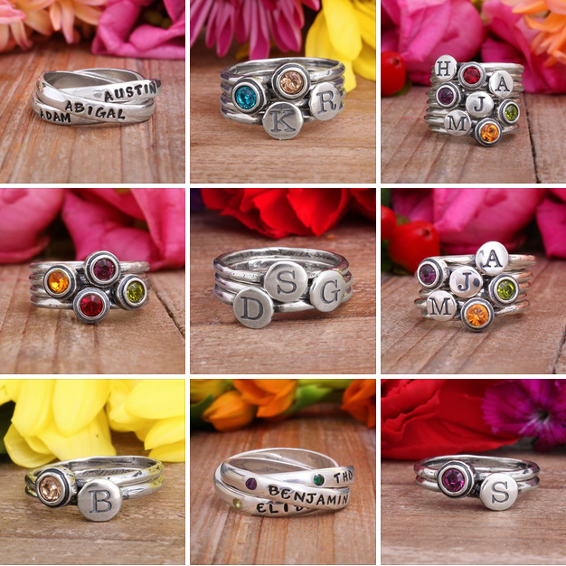 mother, mom, family, rings, initial, initials, personalized, customized,