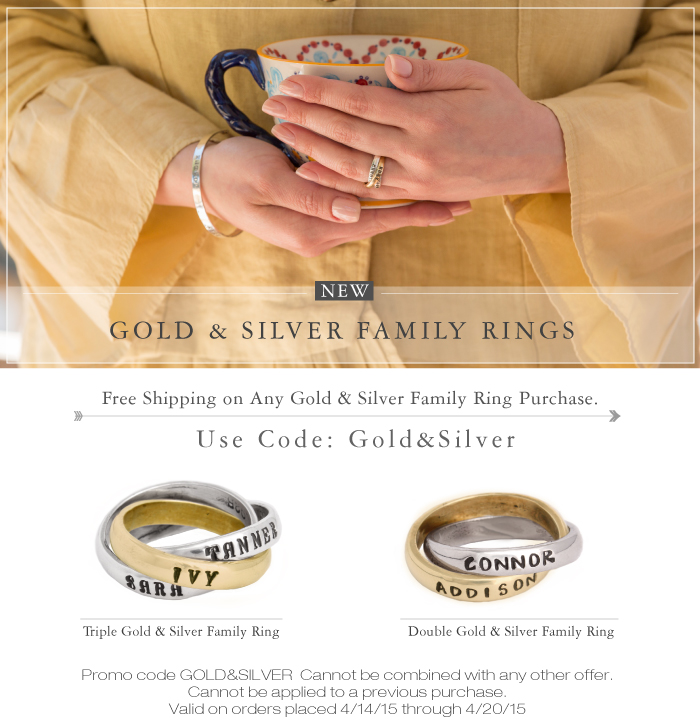 gold and silver family rings for mom