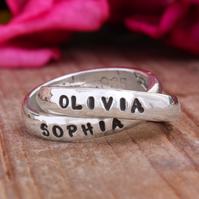 Nelle and Lizzy personalized double ring for mother and daughter.
