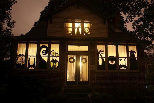 Window monster decor for Halloween