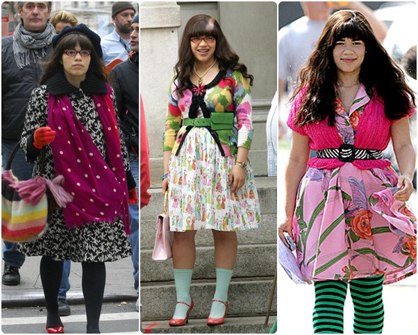 Crazy mixed pattern outfits from Ugly Betty