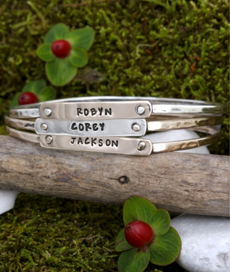 personalized bangle bracelets with custom nameplate
