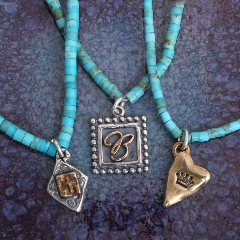 real turquoise necklace sterling silver charm