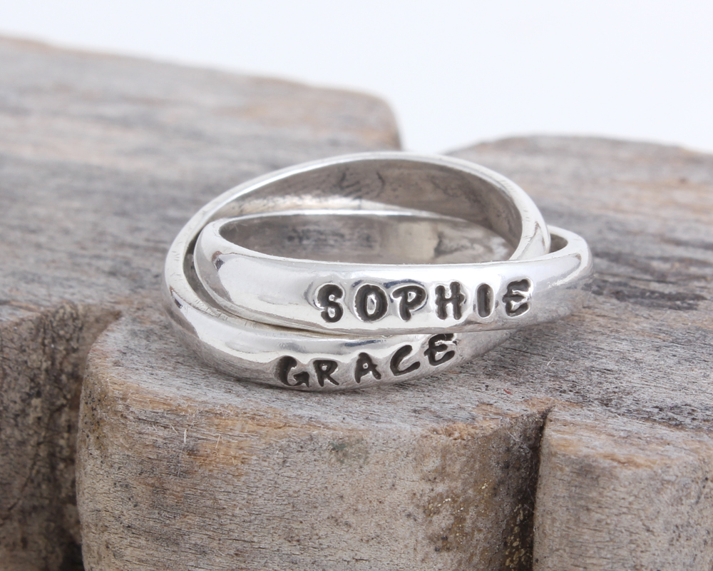 mothers name ring for two children