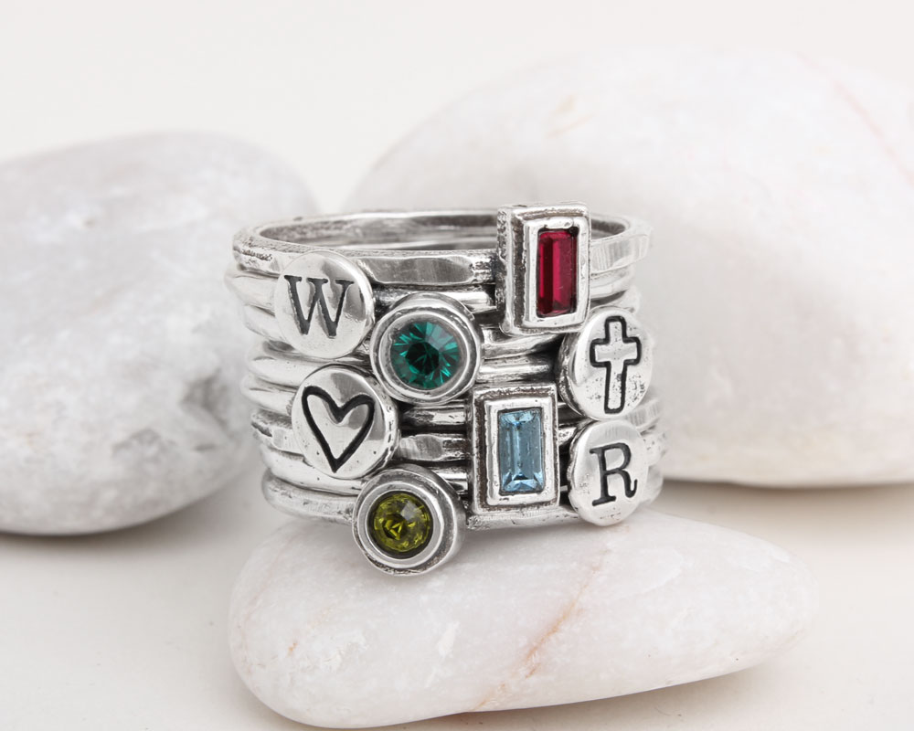 initial birthstone stackable mothers rings