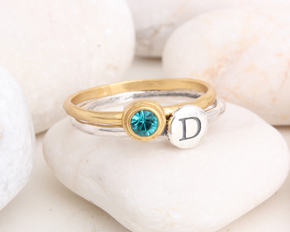 initial birthstone stackable rings