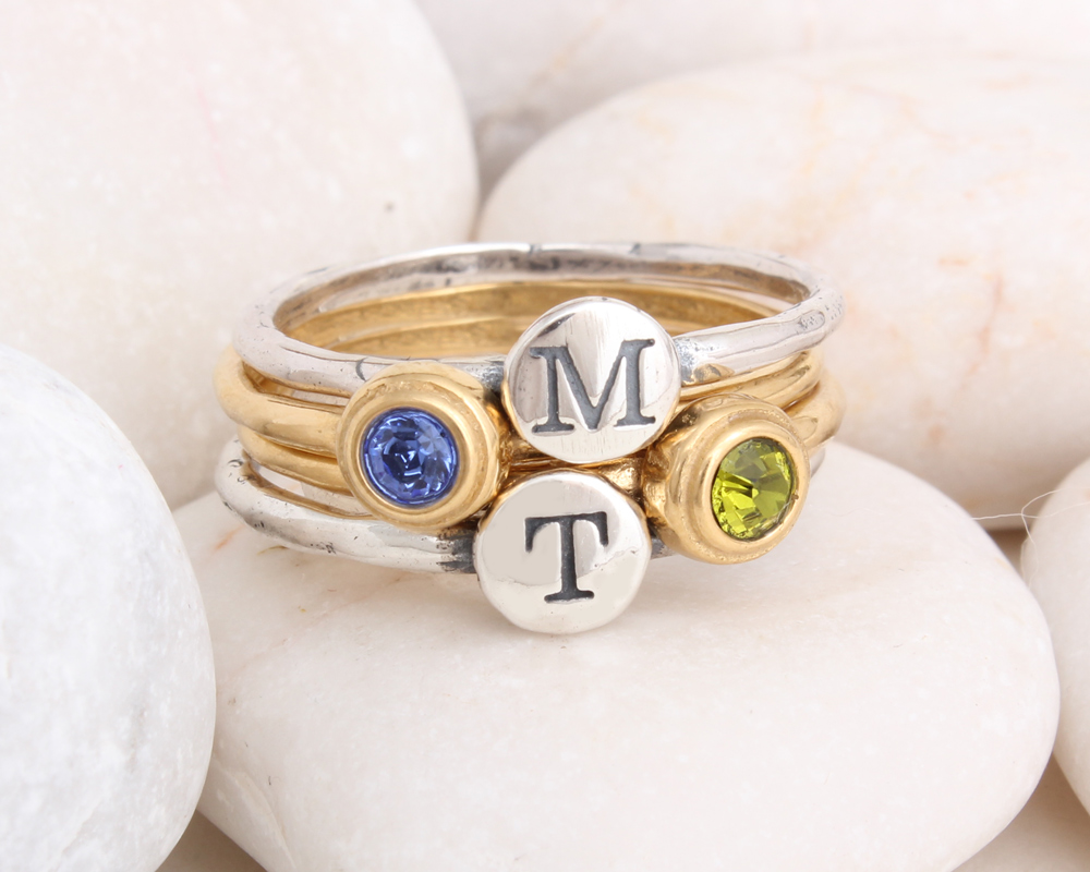 stackable initial and birthstone rings