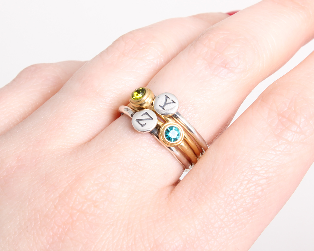 silver and gold initial birthstone stackable rings