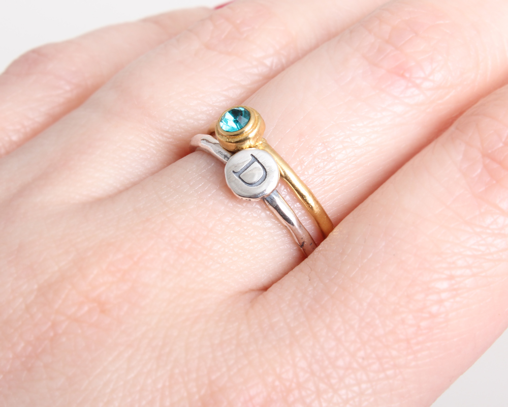 birthstone stackable initial rings